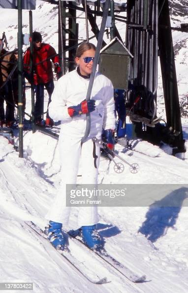 The Infanta Cristina daughter of the Spanish King skiing in Baqueira Beret 1978 Baqueira Beret Spain