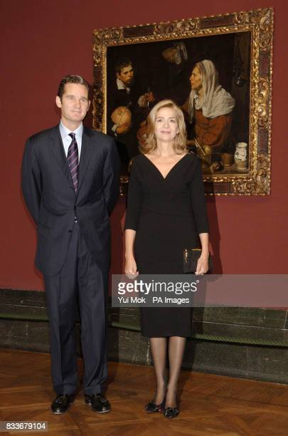 HRH The Infanta Dona Cristina daughter of King Carlos of Spain and her husband Inaki Urdangarin posing by Velazquez's 'An Old Woman cooking Eggs'...