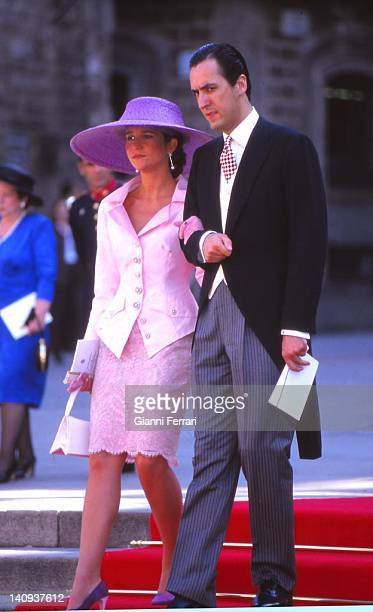The Infanta Elena and her husband Jaime de Marichalar at the wedding of the Infanta Cristina 4th October 1997 Barcelona Spain