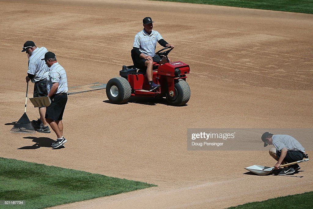 The infield is prepared for the San Francisco Giants to face the Colorado Rockies at Coors Field on April 14, 2016 in Denver, Colorado.