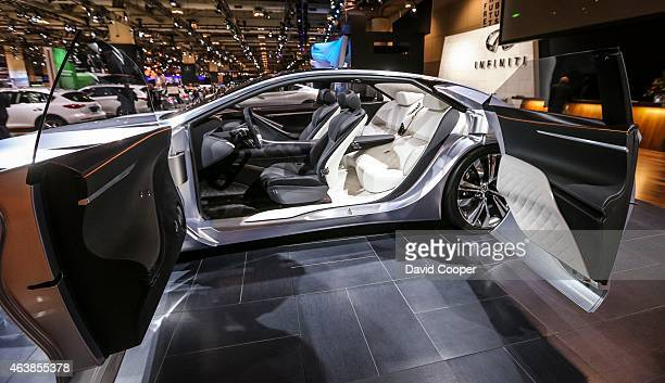 The Infiniti Q80 Concept featuring autonomous driving technology shows off with it's opposing double wide side doors open to reveal the humancentric...