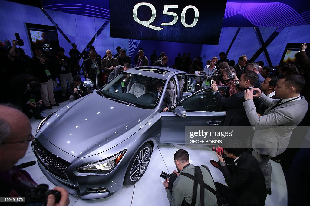 The Infinity Q50 luxury sports car is introduced at the 2013 North American International Auto Show in Detroit, Michigan, January 14, 2013. AFP PHOTO/Geoff Robins