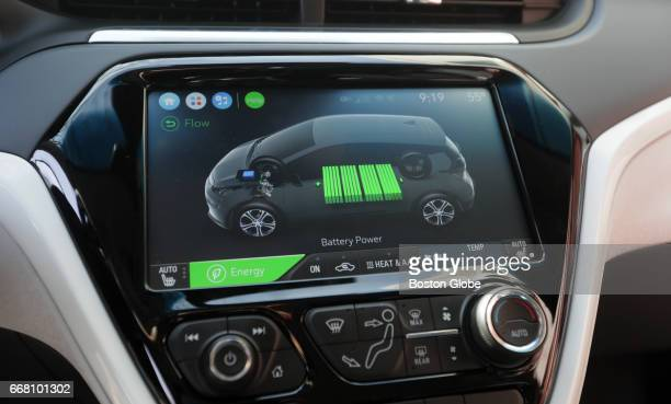 The informational screen on the Chevrolet Bolt EV electric car is pictured in Boston on Apr 12 2017