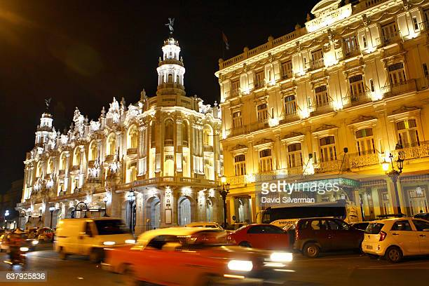The Inglaterra Hotel at right is lit up at night on December 21 2015 in Havana Cuba In a colonialera building dating from 1875 this historic Old...