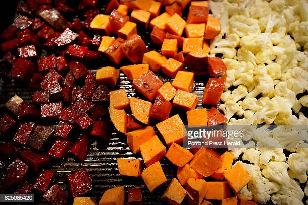 The ingredients for Roasted Winter Buddha Bowl L to R Beets sweet potatoes and cauliflower Green Plate Special Tuesday November 15 2016