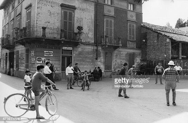 'The inhabitants of Barengo playing football in the square of the village Barengo is the hometown of Renzo Ferrari responsible for the homicide known...