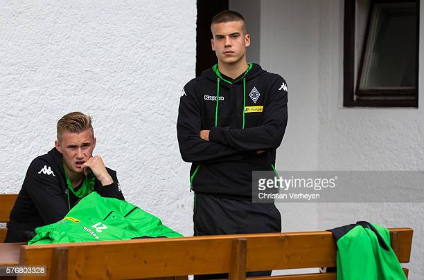 The injured Marvin Schulz and Laszlo Benes observed a training session on day 2 of Borussia Moenchengladbach Training Camp on July 17 2016 in...