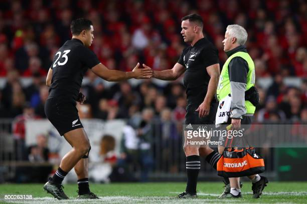 The injured Ryan Crotty of the All Blacks is replaced by Anton LienertBrown of the All Blacks during the first test match between the New Zealand All...