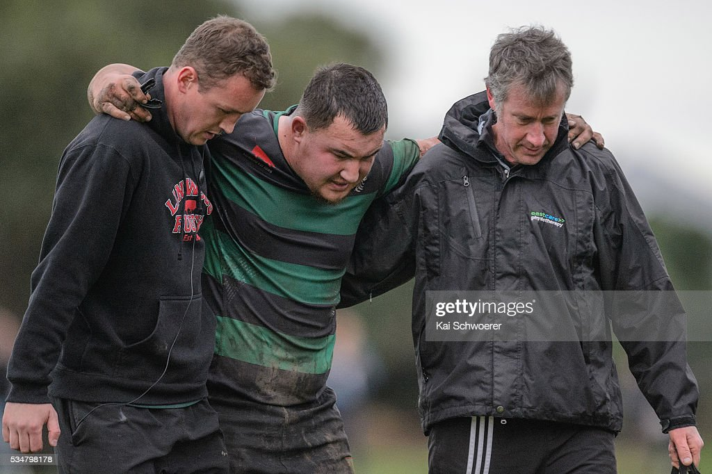 The injured Tyler Hansen Kini of Linwood leaves the field during the match between New Brighton RFC and Linwood RC on May 28, 2016 in Christchurch, New Zealand.