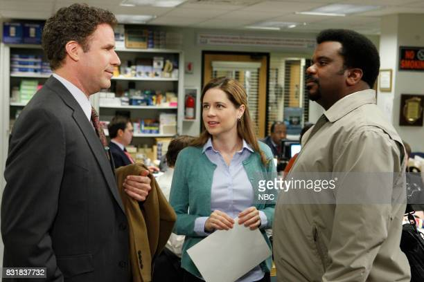 THE OFFICE 'The Inner Circle' Episode 723 Pictured Will Ferrell as Deangelo Vickers Jenna Fischer as Pam Beesly Craig Robinson as Darryl Philbin