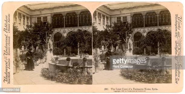The inner court of a Damascus home Syria 1900 Stereoscopic slide