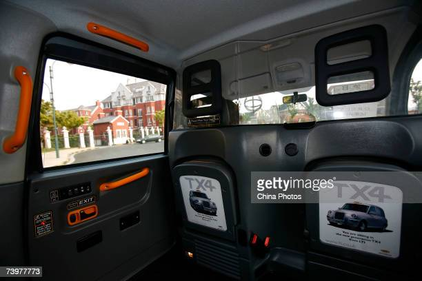 The inner view of a London taxi 'Black Cab' TX4 produced by UK manufacturer Manganese Bronze Holdings at the English style property project Thames...