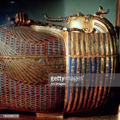 The innermost coffin of Tutankhamun, showing the king in Osiride from the tomb of Tutankhamun (c.1370-1352 BC)