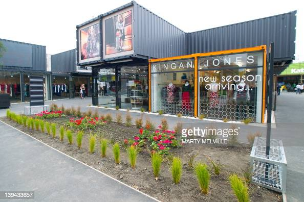 The innovative 'ReSTART' shopping mall which opened last October and built from shipping containers is pictured in downtown Christchurch on February...