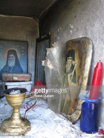 The inside of a Greek roadside shrine, Crete