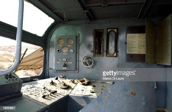 The inside of a mobile laboratory is shown April 28 2003 after being discovered by US troops in the outskirts of Baiji in northern Iraq Preliminary...