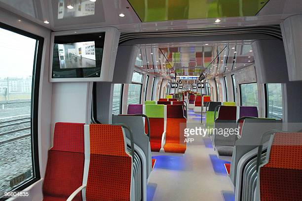 The inside of a new Nouvelles Automotrices Transilien Bombardier train of the SNCF Transilien the public transport railroad network in Paris and Ile...