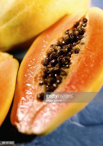 The inside of a papaya