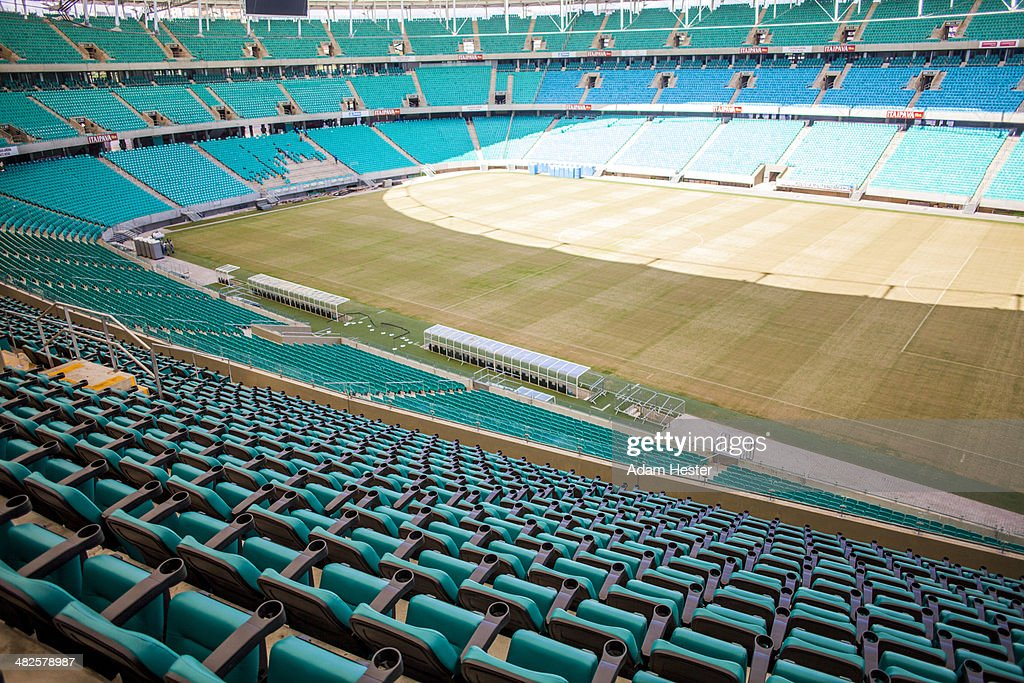 The inside of Arena Fonte Nova with empty seats.