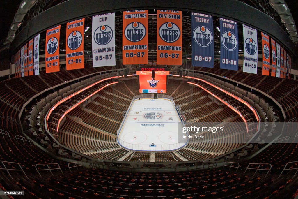 The inside of Rogers Place prior to Game Five of the Western Conference First Round during the 2017 NHL Stanley Cup Playoffs between the Edmonton Oilers and the San Jose Sharks on April 20, 2017 at Rogers Place in Edmonton, Alberta, Canada.