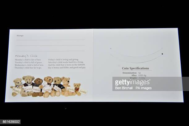 The inside of the blue for baby boys Silver Penny card produced by the Royal Mint to coincide with the brith of the royal baby PRESS ASSOCIATION...
