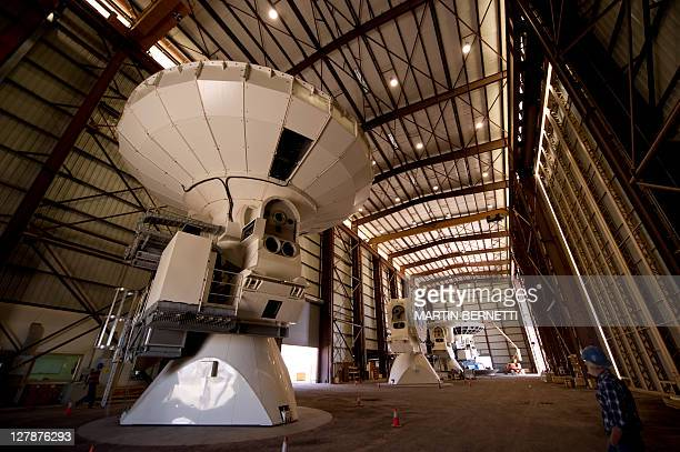 The inside of the hangar where the antennas of the radio telescope of the Alma project are assembled in the Chajnantor plateau Atacama desert some...