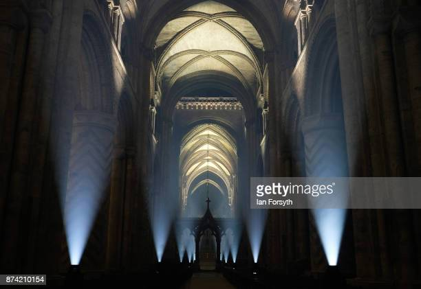 The inside of the historic Durham Cathedral is illuminated by a light installation titled 'Methods' by artist Pablo Valbuena during a media preview...