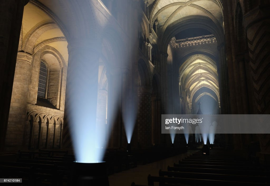 The inside of the historic Durham Cathedral is illuminated by a light installation titled 'Methods' by artist Pablo Valbuena during a media preview evening ahead of the Durham Lumiere event on November 14, 2017 in Durham, England. The installation was inspired by the tradition of English change ringing. The Lumiere light festival is the UK's largest light festival and comes to the City of Durham for the fifth time bringing large scale projections and light installations across the city to landmark locations.
