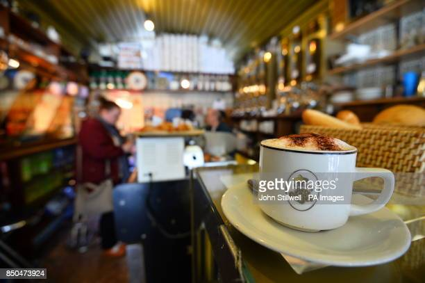 The inside of the original Costa Coffee shop first opened in 1978 by brothers Sergio and Bruno Costa but now in private hands and no longer part of...