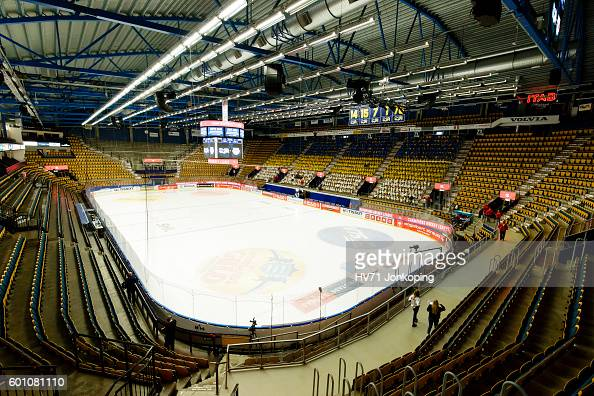 The inside of the venue Kinnarps arena before the Champions Hockey League match between HV71 Jonkoping and Red Bull Salzburg at Kinnarps Arena on...