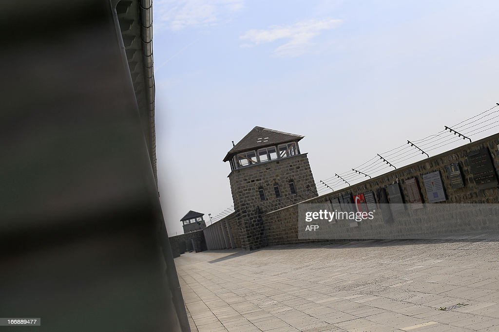 The inside walls and a watchtower are seen at the World War II concentration camp of Mauthausen, on April 17, 2013.