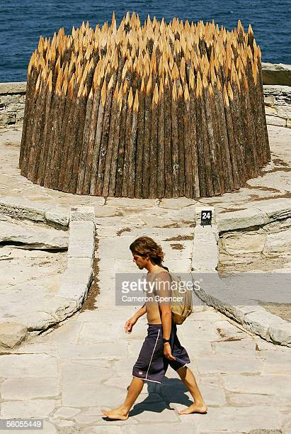 The installation 'Refuge' by Denise Hume is displayed at Marks Park during the Sculpture By The Sea exhibition held along the Bondi to Tamarama...