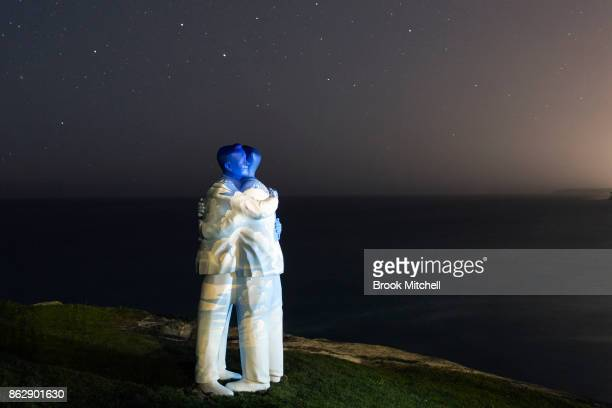 The installation 'Under One Sky' by Stephan Marr is pictured before dawn at Sculptures By The Sea at Tamarama on October 19 2017 in Sydney Australia