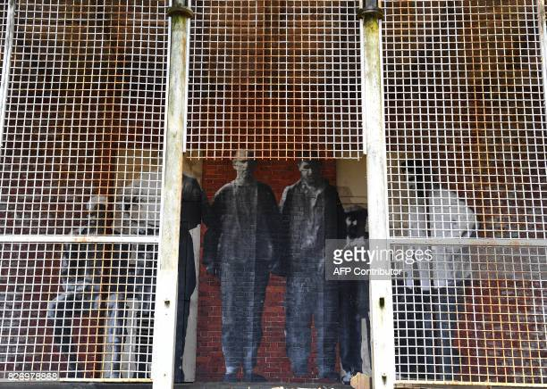 The installation Unframed Ellis Island by French artist JR is seen on display in one of the buildings of the The Ellis Island Hospital August 5 a...