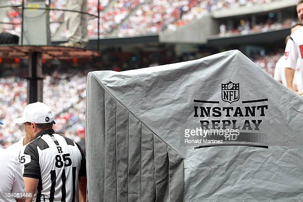 The Instant Replay booth during a game between the Indianapolis Colts and the Houston Texans at Reliant Stadium on September 12 2010 in Houston Texas