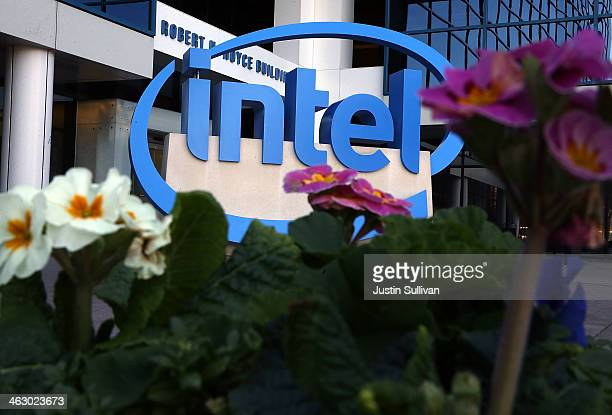 The Intel logo is displayed outside of the Intel headquarters on January 16 2014 in Santa Clara California Intel will report fourth quarter earnings...