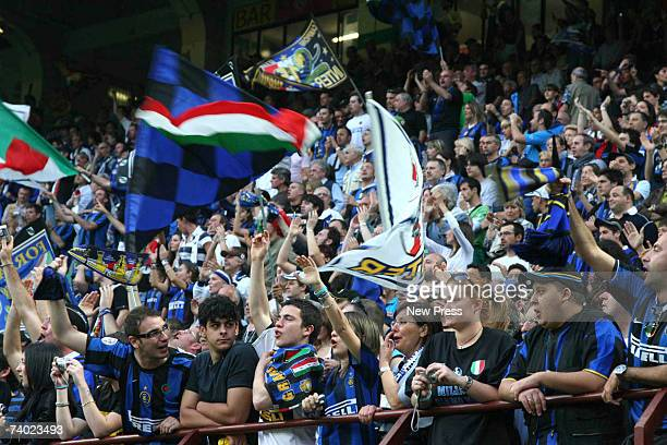 The Inter fans celebrate winning the match at the Serie A title during the Serie A match between Inter Milan and Empoli at the San Sero Stadium on...