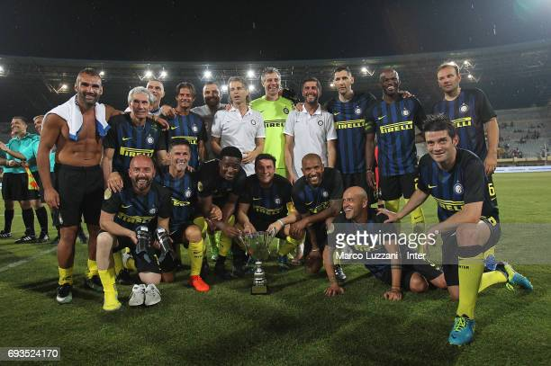The Inter Forever players with the trophy at the end of the friendlt match between Greece 2004 and Inter Forever at Pankrition Stadium on June 7 2017...