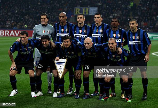 The Inter Milan players line up for a team photo prior the UEFA Champions League Round of 16 first leg match between Inter Milan and Chelsea at the...