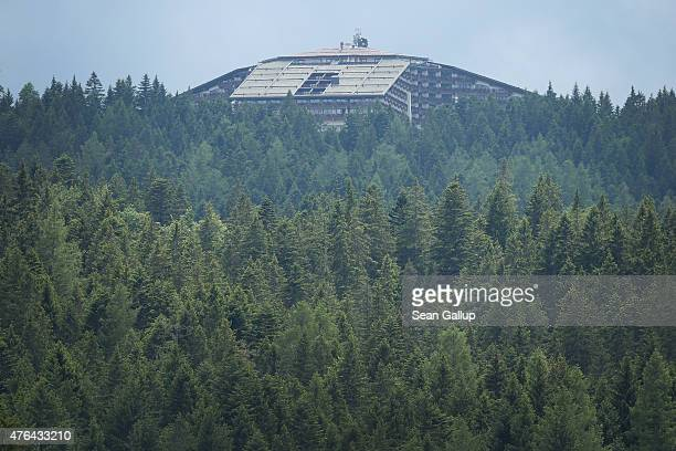 The InteralpenHotel Tirol venue of the upcoming Bilderberg conference stands on June 9 2015 near Telfs Austria Bilderberg members who include CEOs of...
