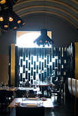 The interior at Burgundy a 36seat designer diner housed in a mock Provincial style building in Saifi Village overlooking Martyrs Square Opened in...