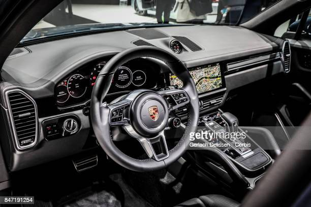 The interior dashboard of the new Porsche Cayenne on display at the 2017 Frankfurt Auto Show 'Internationale Automobil Ausstellung' on September 13...