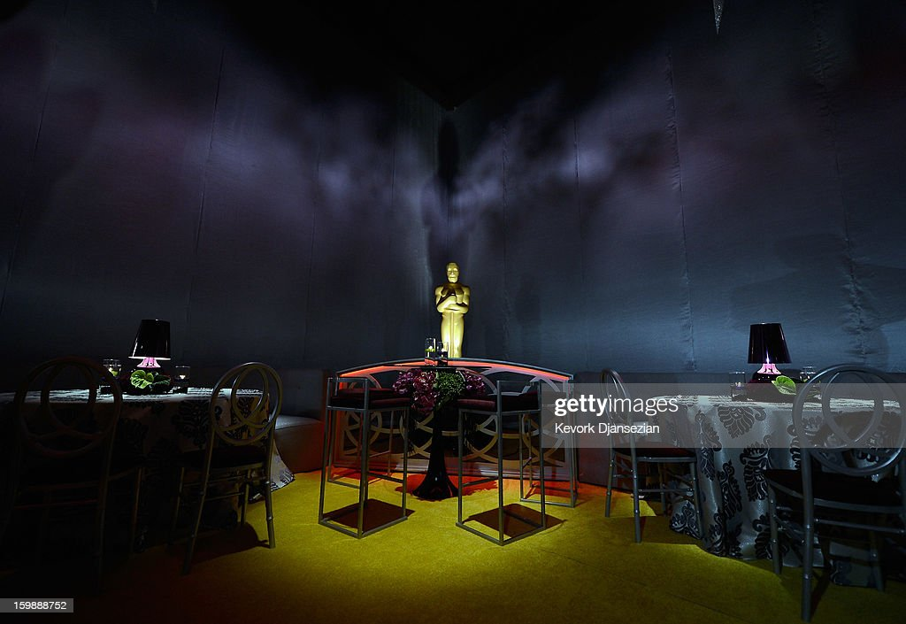 The interior design is seen during a preview of the 85th Academy Awards Governors Ball on January 22, 2013 in Hollywood, California. Academy governor Jeffrey Kurland, event producer Cheryl Cecchetto and Puck will return to create this year's Governors Ball, the Academy's official post-Oscar celebration, which will immediately follow the 85th Academy Awards ceremony on Sunday, February 24. The 1,500 guests include Academy Award winners and nominees, show presenters and other telecast participants.