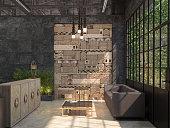 Loft style. 3D visualization.