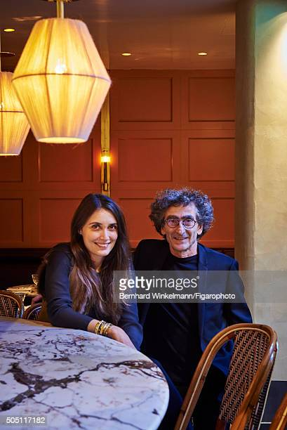 The interior designer Laura Gonzalez and the owner Michel Desmond of Alcazar Restaurant are photographed for Madame Figaro on December 7 2015 in...