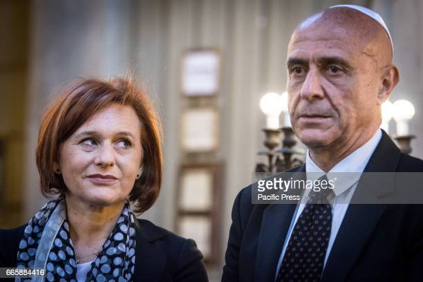 The Interior Minister Marco Minniti and the President of the Jewish Community of Rome Ruth Durghello during the official visit to Synagogue of Rome