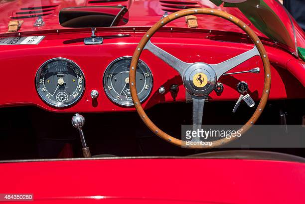 The interior of a 1952 Ferrari SpA 340 Mexico Vignale Spyder vehicle is seen during the 2015 Pebble Beach Concours d'Elegance in Pebble Beach...