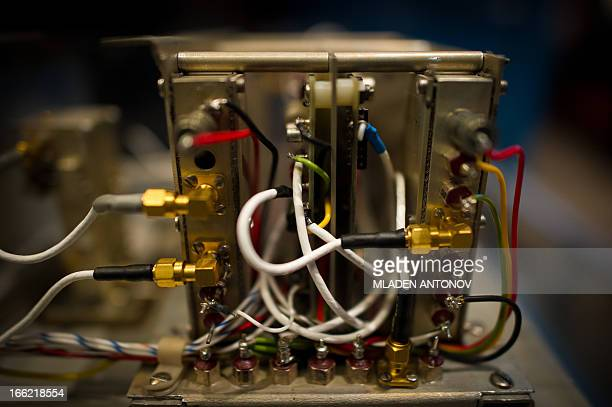 The interior of a 1970 'atomic clock' designed to work in the space exposed at the 'Time and navigation' exhibition at the Smithsonian National Air...