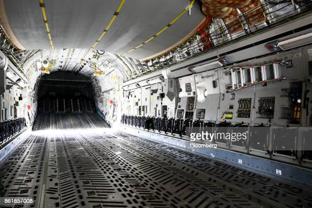 The interior of a C17 Globemaster III aircraft manufactured by Boeing Co is seen during a press day of the Seoul International Aerospace Defense...