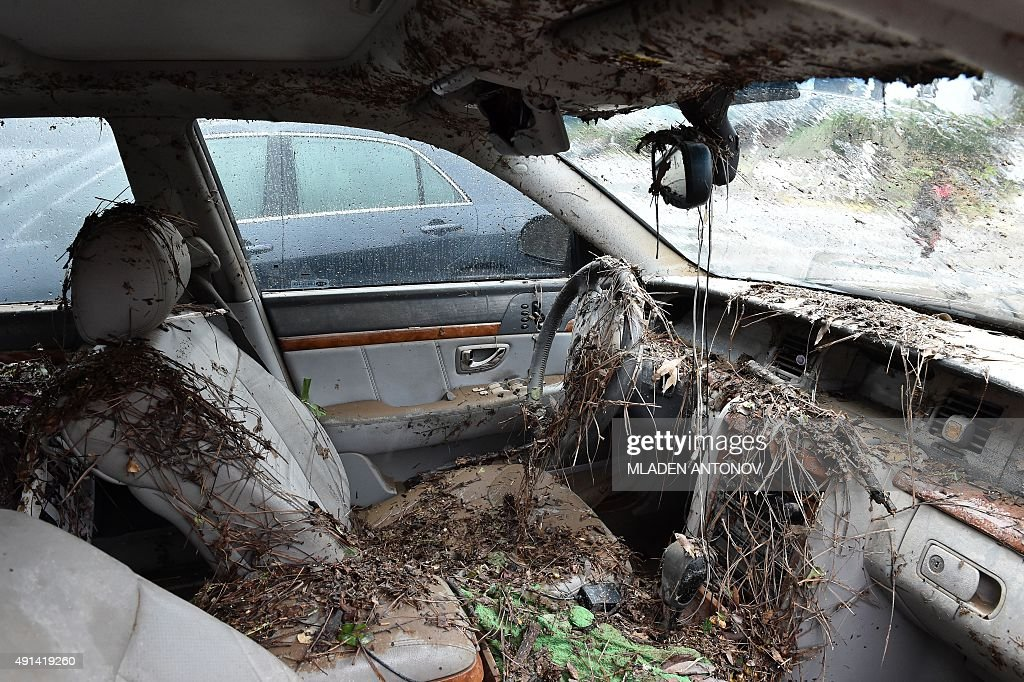 The interior of a flooded car is seen in Columbia South Carolina on October 5 2015 Record rainfall left large areas of the US southeast under water...
